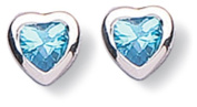 Jo For Girls Sterling Silver Blue/Turquoise Cubic Zirconia Heart Studs