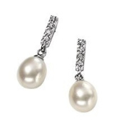 Freshwater Pearl And Cubic Zirconia Set Dangling Stud Earrings In Sterling Silver.