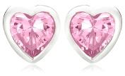 Jo for Girls Silver Pink 4mm Cubic Zirconia Heart Stud Earrings