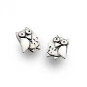 Sterling Silver Owl Solid Oxidised Silver Stud Earrings