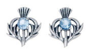 STERLING SILVER THISTLE BIRTHSTONE EARRINGS JEWELLERY MARCH