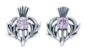 STERLING SILVER THISTLE BIRTHSTONE EARRINGS JEWELLERY JUNE