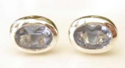 Stonesandsilver, Lovely Quality, Lab Created Tanzanite (Oval 7x5mm), Sterling Silver Studs with Wide Frame