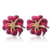 Chaomingzhen Red Flower with Starfish Stud Earring for Women Fashion Jewellery Alloy with Austrian Crystal for Girl