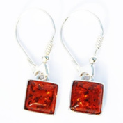 Honey Baltic Amber Silver Dangly Earrings - Square, 925 sterling silver, + gorgeous gift box