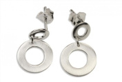 SILBERMOOS Women´s Jewellery Stud Earrings Hanging Open Round Circles Matt and Polished 925 Sterling Silver