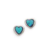 Ladies Handmade Silver Heart Opal Stone Earrings