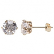 9ct Gold 5mm 6 Claw Set Cubic Zirconia Stud Earrings SE305