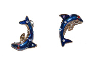 Pretty Dolphin Stud Earrings with Vibrant Enamel and Crystals