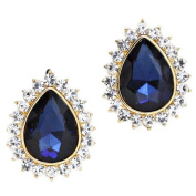 Glitzy Glamour midnight blue and clear diamante teardrop earrings