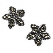 Flower Stud Earrings In Sterling Silver Set With Marcasite.