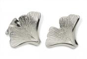 SILBERMOOS Women´s Jewellery Stud Earrings Gingko Leaves Leaf 925 Sterling Silver