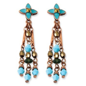 Copper-tone Green Teal and Brown Acrylic Beads Post Earrings - JewelryWeb