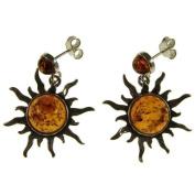 Baltic amber and sterling silver 925 designer cognac dangling stud sun earrings jewellery jewellery