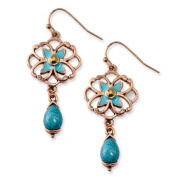 Copper-tone Teal and Brown Glass Stone With Teal Enamel Earrings - JewelryWeb