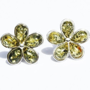 Mixed Baltic Amber Silver Studs - FLOWERS, 925 sterling silver, + gorgeous gift box