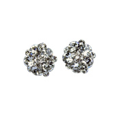 Flower Cluster Earring Studs with Clear. Crystals, Rhodium Plated Silver Finish.