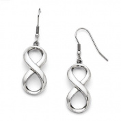 Stainless Steel Polished Infinity Symbol Shepherd Hook Earrings - JewelryWeb