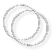9ct White Gold 14mm Thin Hinged Sleeper Earrings