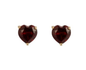 9ct Yellow Gold Real Garnet 5mm Heart Claw Set Stud Earring