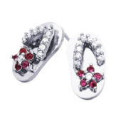 Little Treasures 14 ct White Gold Plated Sterling Silver Sandle CZ Stud Screw Back Earrings For Children & Women