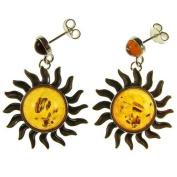 Baltic amber and sterling silver 925 designer cognac sun dangling stud earrings jewellery jewellery
