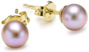 Gold Earrings, 18ct Yellow Gold, Pink Pearl Studs, by Miore-Joven, MA99EY