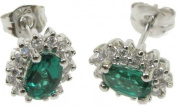 Zilver Designs Emerald and Cubic Zirconia Silver Earrings