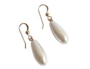 South Sea White Pearl Teardop Earrings in 14k Gold