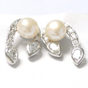 Sterling silver pearl earrings, horseshoe - shaped, freshwater cultured pearls, cubic zirconia accented, pave setting, teardrop - shaped cubic zirconia tips, rimmed in sterling silver, genuine sterling silver, marked 925, attractively packaged.