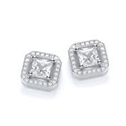 J Jaz Sterling Silver Micro Pave Princess Cut Cubic Zirconia Stud Earrings