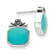 Sterling Silver Created Turquoise Earrings - JewelryWeb