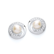 J Jaz Sterling Silver Micro Pave with Freshwater Pearl Stud Earrings