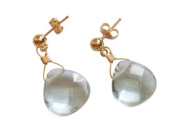 Aquamarine teardrop Earrings 14k gold