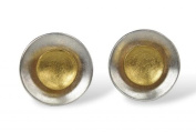 SILBERMOOS Women´s Jewellery Stud Earrings 2-in-1 Bicolor Round Discs Circle 925 Sterling Silver Gold-Plated