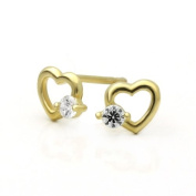 Little Treasures 14 ct Gold Stud Earring White CZ Cute Heart Yellow Gold Earring W/ Screw-Back For Kids & Teens