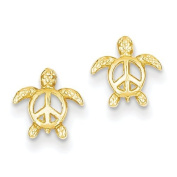 14ct Peace Turtle Post Earrings - JewelryWeb
