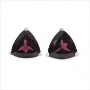 Jewellery-Schmidt-Earrings / Studs Trillion (triangles), Rhodolite-925 Silver Rhodium-2, 20 carats