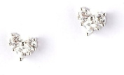 9ct White Gold & Cubic Zirconia Heart Stud Earrings