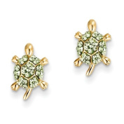 14ct Light Green Crystal Turtle Post Earrings - JewelryWeb