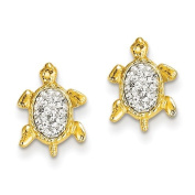 14ct Crystal White Turtle Post Earrings - JewelryWeb