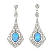 Opal and cz Diamond Victorian style drop earrings, sterling silver in a presentation box