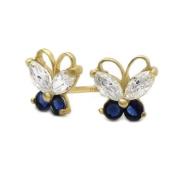 Little Treasures 14 ct Gold Stud Earring Blue & White CZ Cute Butterfly Yellow Gold Earring W/ Screw-Back For Kids & Teens