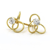 Little Treasures 14 ct Gold Stud Earring CZ 10mm Love Knot Yellow Gold Earring With Screw Back