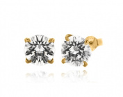 9ct Yellow Gold 8mm Cubic Zirconia Large Single Stone Stud Earrings