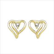 Jewellery-Schmidt-Hearts Earrings White Zirconia 0.10 carat silver / gold plated 10 carat gold