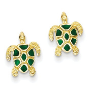 14ct Green Enamelled Sea Turtle Post Earrings - JewelryWeb