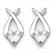 Jewellery-Schmidt-Earrings / Studs Silver Rhodium plated Rose Quartz heart-3, 40 carats