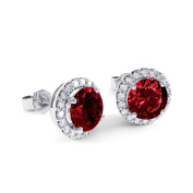 2.7ct Ruby and Diamond White Gold Halo Stud Earrings