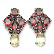 Jewellery-Schmidt-Precious Garnet Citrine Earrings -925 Silver Rhodium-3.22 carat